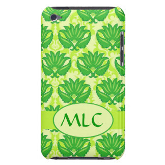 Emerald Lime Green Art Nouveau Damask Monogram iPod Touch Case