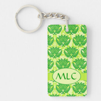 Emerald Lime Green Art Nouveau Damask Monogram Rectangular Acrylic Keychain