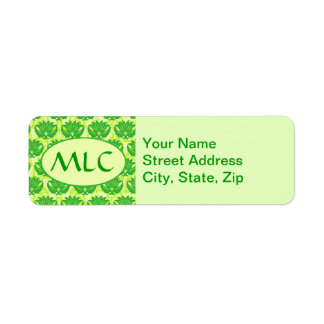 Emerald Lime Green Art Nouveau Damask Monogram Return Address Label