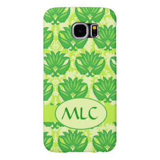 Emerald Lime Green Art Nouveau Damask Monogram Samsung Galaxy S6 Case