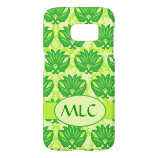 Emerald Lime Green Art Nouveau Damask Monogram Samsung Galaxy S7 Case