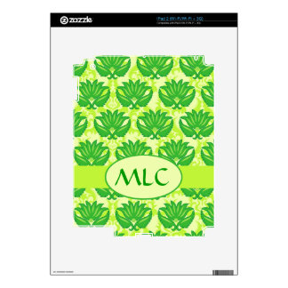 Emerald Lime Green Art Nouveau Damask Monogram Skin For The iPad 2