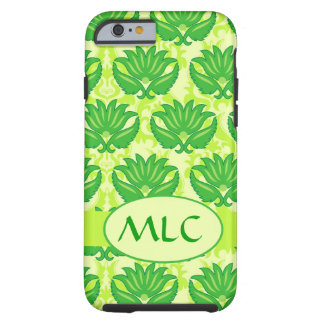 Emerald Lime Green Art Nouveau Damask Monogram Tough iPhone 6 Case