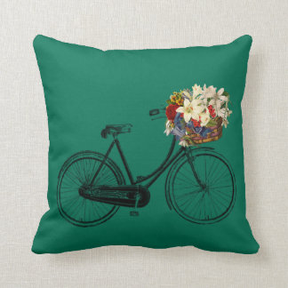 Emerald lush meadow bicycle flower Throw pillow