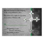 Emerald Medieval Celtic Cross RSVP Card