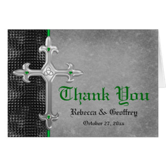 Emerald Medieval Celtic Cross Thank You Card Greeting Cards