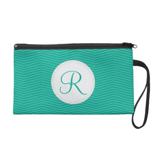 Emerald Monogram Thin Chevron Pattern Wristlet Clutch