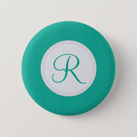 Emerald Monogram Thin Chevron Pattern Button