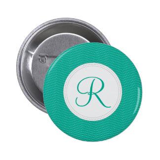 Emerald Monogram Thin Chevron Pattern Pinback Buttons