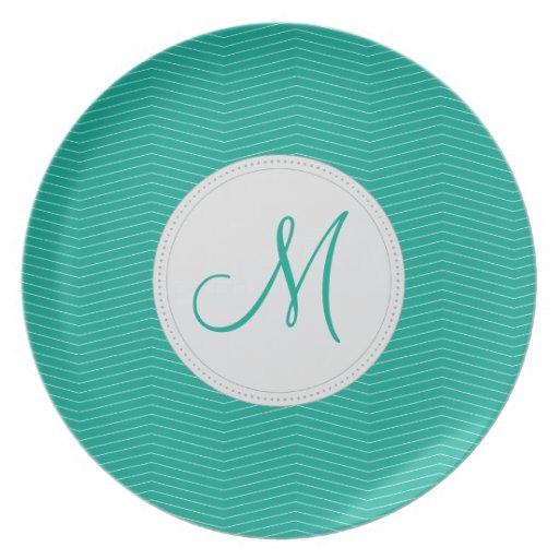 Emerald Monogram Thin Chevron Pattern Dinner Plate