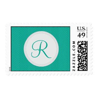 Emerald Monogram Thin Chevron Pattern Postage