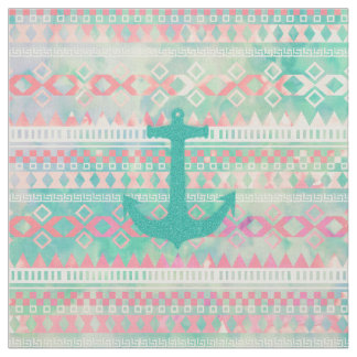 Emerald Nautical Anchor Pastel Watercolor Aztec Fabric