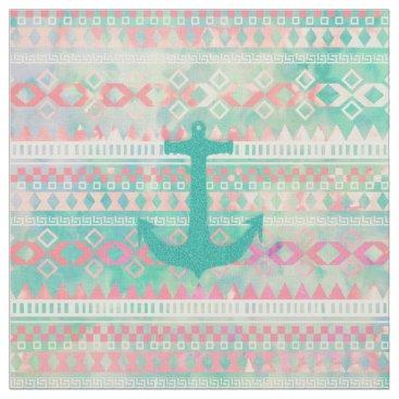 Aztec Themed Emerald Nautical Anchor Pastel Watercolor Aztec Fabric