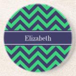 Emerald Navy LG Chevron Navy Blue Name Monogram Drink Coaster