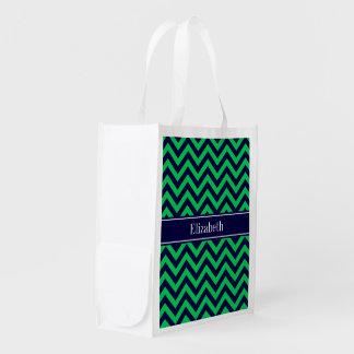 Emerald Navy LG Chevron Navy Blue Name Monogram Grocery Bags