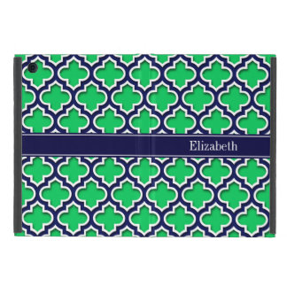 Emerald Navy Moroccan #5DS Navy Name Monogram Cover For iPad Mini