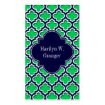 Emerald Navy Moroccan #5DS Navy Name Monogram Double-Sided Standard Business Cards (Pack Of 100)