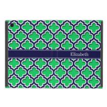 Emerald Navy Moroccan #5DS Navy Name Monogram iPad Mini Covers