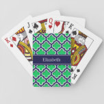 "Emerald Navy Moroccan #5DS Navy Name Monogram Playing Cards<br><div class=""desc"">Emerald Green, Navy Blue and White Moroccan Quatrefoil Trellis Pattern #5DS, Teal Ribbon Name Monogram Label Customize this with your name, monogram or other text. You can also change the font, adjust the font size and font color, move the text, add additional text fields, etc. Please note that this is...</div>"