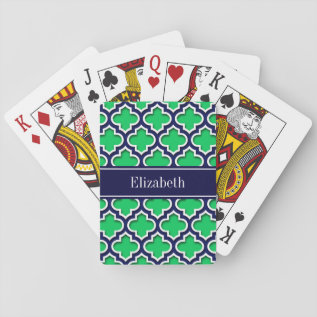 Emerald Navy Moroccan #5ds Navy Name Monogram Playing Cards at Zazzle