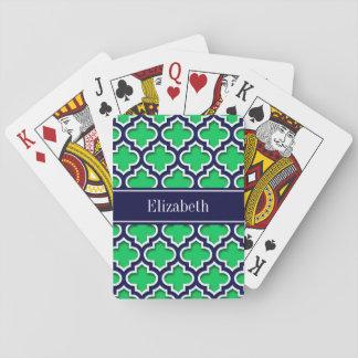 Emerald Navy Moroccan #5DS Navy Name Monogram Poker Deck