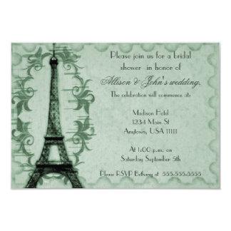 Emerald Paris Grunge Bridal Shower Invitation