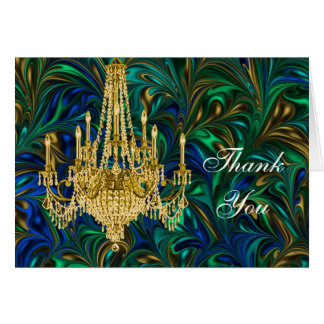 Emerald Peacock Blue Chandelier Thank You Card Note Card