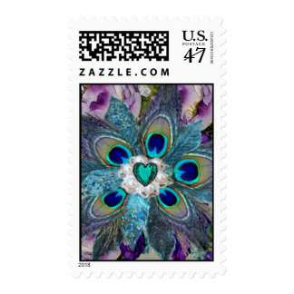 Emerald Peacock Feather Flower Postage