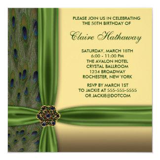 Emerald Peacock Gold 50th Birthday Invitations