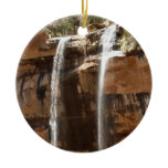 Emerald Pool Falls IV from Zion National Park Utah Double-Sided Ceramic Round Christmas Ornament