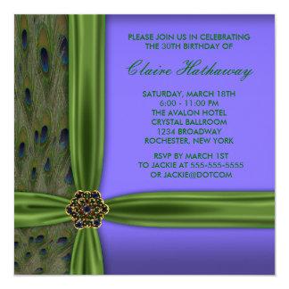 Emerald Purple Peacock 30th Birthday Invitation