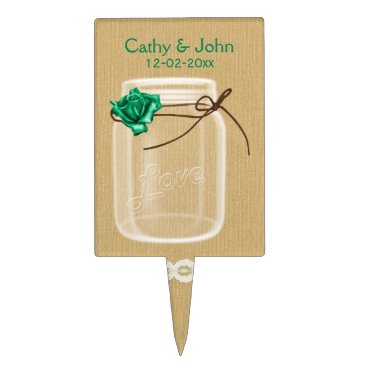 emerald rose mason jar personalized cake picks