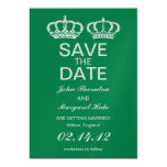 Emerald Royal Couple Save the Date Card