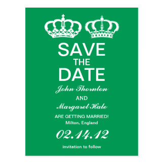 Emerald Royal Couple Save the Date Postcard