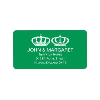 Emerald Royal Couple Wedding Personalized Address Label