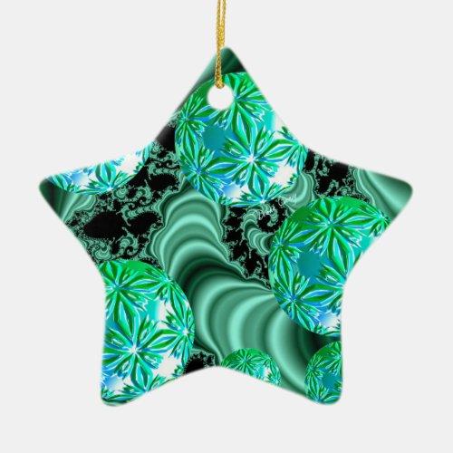 Emerald Satin Dreams - Abstract Irish Shamrock Ceramic Ornament