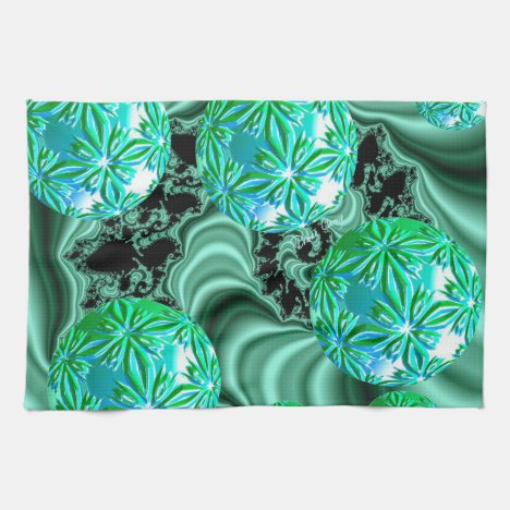Emerald Satin Dreams - Abstract Irish Shamrock Kitchen Towel
