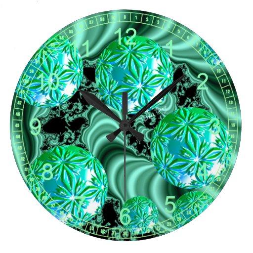 Emerald Satin Dreams - Abstract Irish Shamrock Large Clock