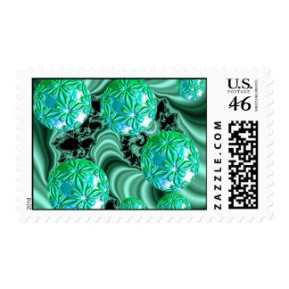 Emerald Satin Dreams - Abstract Irish Shamrock Postage Stamp