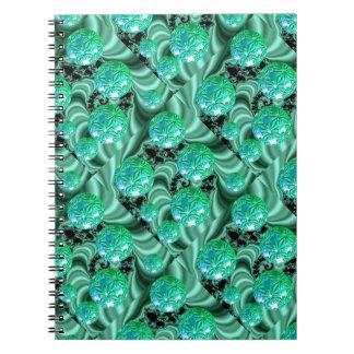 Emerald Satin Dreams - Abstract Irish Shamrock Spiral Notebook