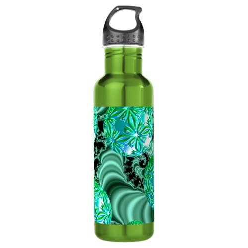 Emerald Satin Dreams - Abstract Irish Shamrock Stainless Steel Water Bottle