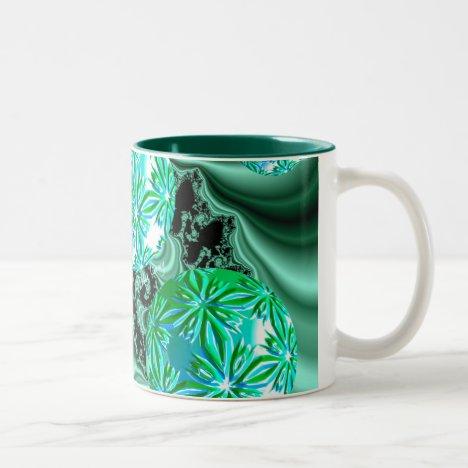 Emerald Satin Dreams - Abstract Irish Shamrock Two-Tone Coffee Mug