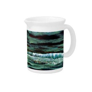 Emerald Sea Ocean Waves Seascape Beach Decor Pitcher