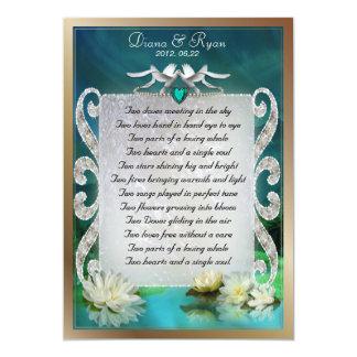 "Emerald Sea Two Doves Poem Keepsake 5"" X 7"" Invitation Card"