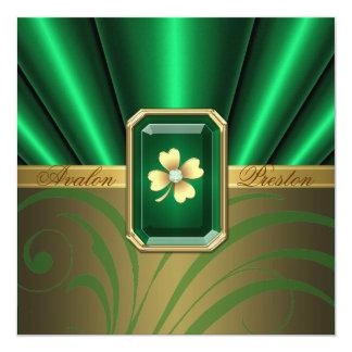 Emerald Silk St Patrick's Day Wedding Invite