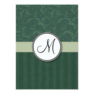 Emerald Teal Floral Wisps & Stripes with Monogram Card