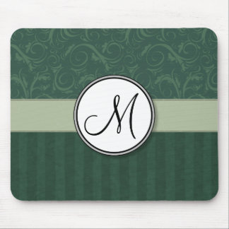 Emerald Teal Floral Wisps & Stripes with Monogram Mouse Pad