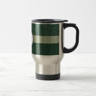 Emerald Teal Floral Wisps & Stripes with Monogram Travel Mug
