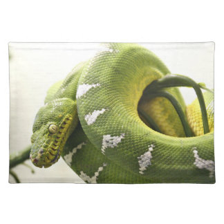 Emerald tree boa cloth placemat