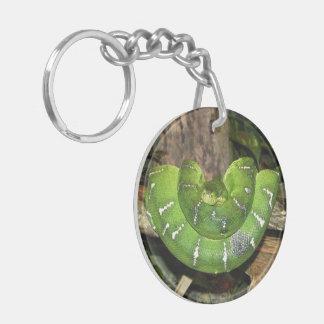 Emerald Tree Boa Snake Keychain